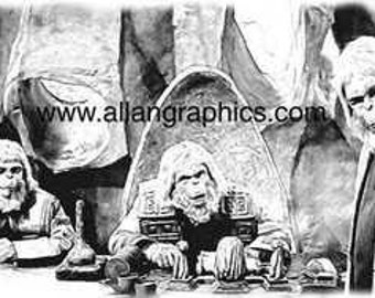 Rare See, Hear, Speak Planet of the Apes Art Print