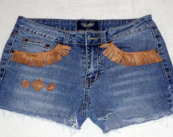 Jean Shorts - Low Rise Shorts - Upcycled Recycled Repurposed Clothing - Size 9 - SALE