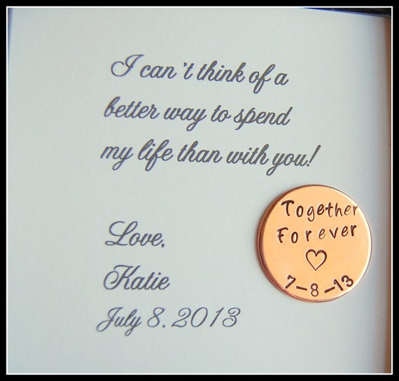 Grooms Gift from Bride Love Notes Coin Together Forever