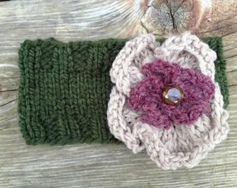 Knitted Flower Headband / Ear warmer (Mossy Green)