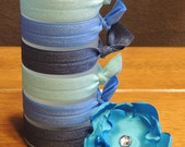 """The """"Blue"""" Collection - Set of 6 Hair Ties - Hair Tie - Elastic Hair Tie - Hair Twist - Twist Band - Elastic Band"""