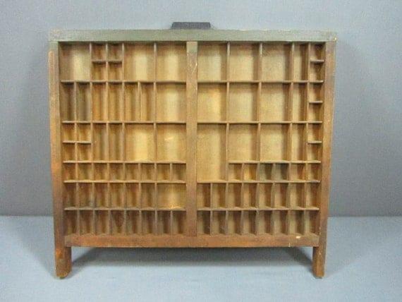 Vintage Hamilton Printers Drawer With 87 Compartments Shadow Box Miniature Display FREE SHIP
