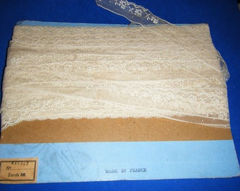 Etsy Antique French Lace trim Rose pattern netted french lace Franch Vintage original card ephemera 1 in. wide Price per yard