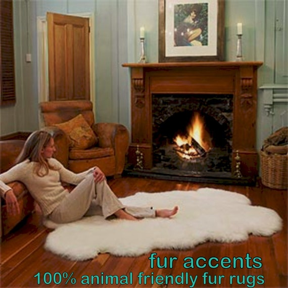 FUR ACCENTS Warm White Faux Fur Sheepskin Accent Rug By