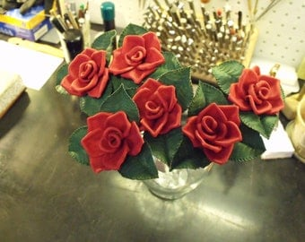 Sculpted leather roses