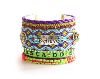 Made to Order /SS14 Luxury Brazilian Wish Neon Swarovski Friendship Bracelet Jewelry Ultra Wide Believe Cuff,bohemian indian gypsy,Ethnic