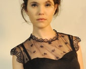 Satin combined with lace woman blouse, short sleeves, black and dark blue