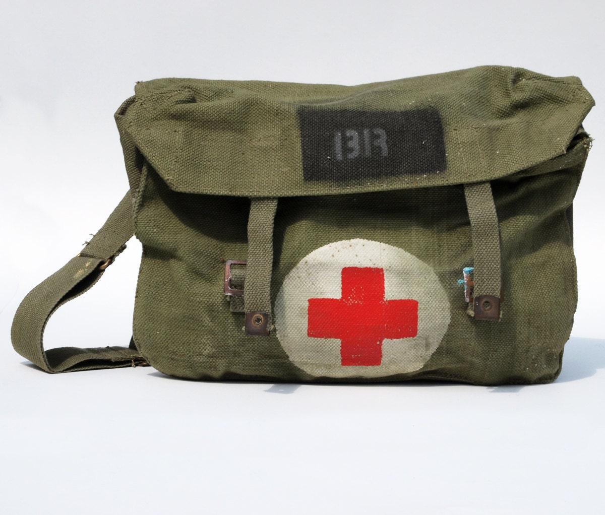 wwii medic bag vintage canvas green sack cross
