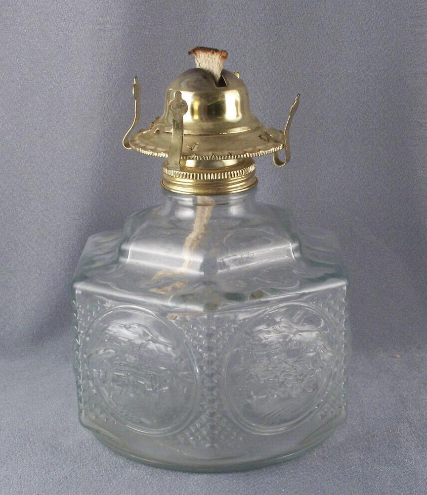 Lamplight Farms Glass Oil Lamp Hexagonal Base with Horse and Buggy