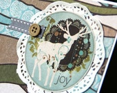 SALE - Set of 4 Christmas Cards Set - Deer Christmas - Handmade Holiday Card - WAS 20USD