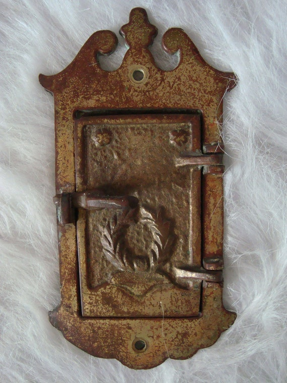 Antique brass door knocker and locking peep window - Antique peephole ...