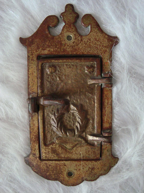 Antique brass door knocker and locking peep window - Door knocker with peep hole ...