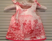 TOILE de JOUY Hot Pink fabric French Country Stripe Baby Girl Sundress Dress Preppy Size SZ 6 months mo.