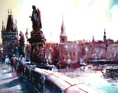 Print from Original Watercolor Illustration Cityscape City Art Painting tittled Charles Bridge
