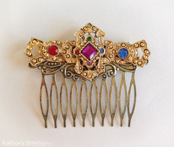1930s Vintage Jeweled Gold Tone Hair Comb