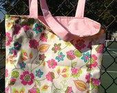 Reversible Tote Pink Blue and Green Floral