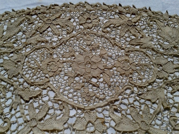 Table Center Lace Art Antique French Hand Made  - Large Doily-  Floral Lace- Cotton -Cream/Ivory Color- Diamond Shape Linen- Heavy Worked