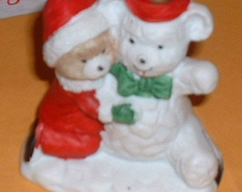 Santa Claus Teddy Bear with Christmas Snowman China Figurine