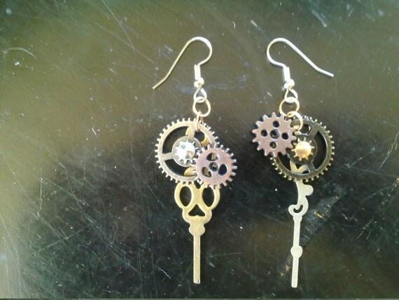 One-of-a-kind Steampunk Gear Earrings