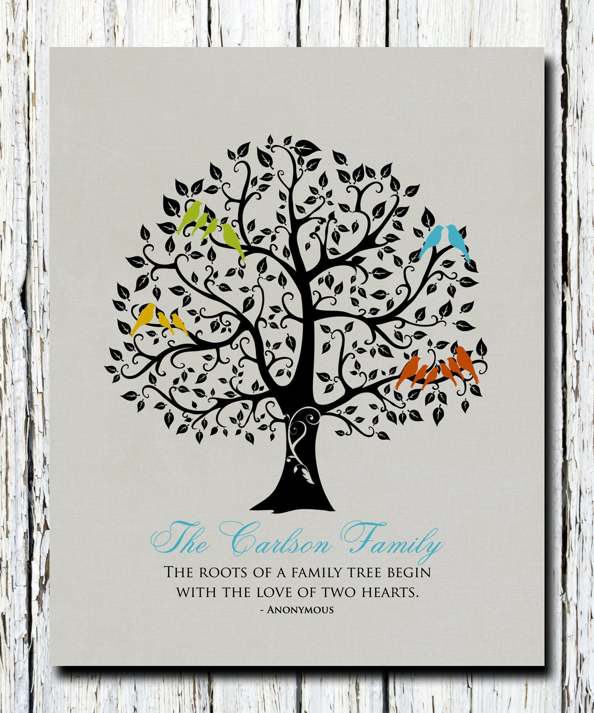 Wedding Gift For Couple Living With Parents : Family Christmas Gift Family Tree Art Keepsake Grandparents
