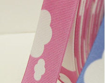 Ribbon Tape White Clouds on Pink 5 Yards 9422