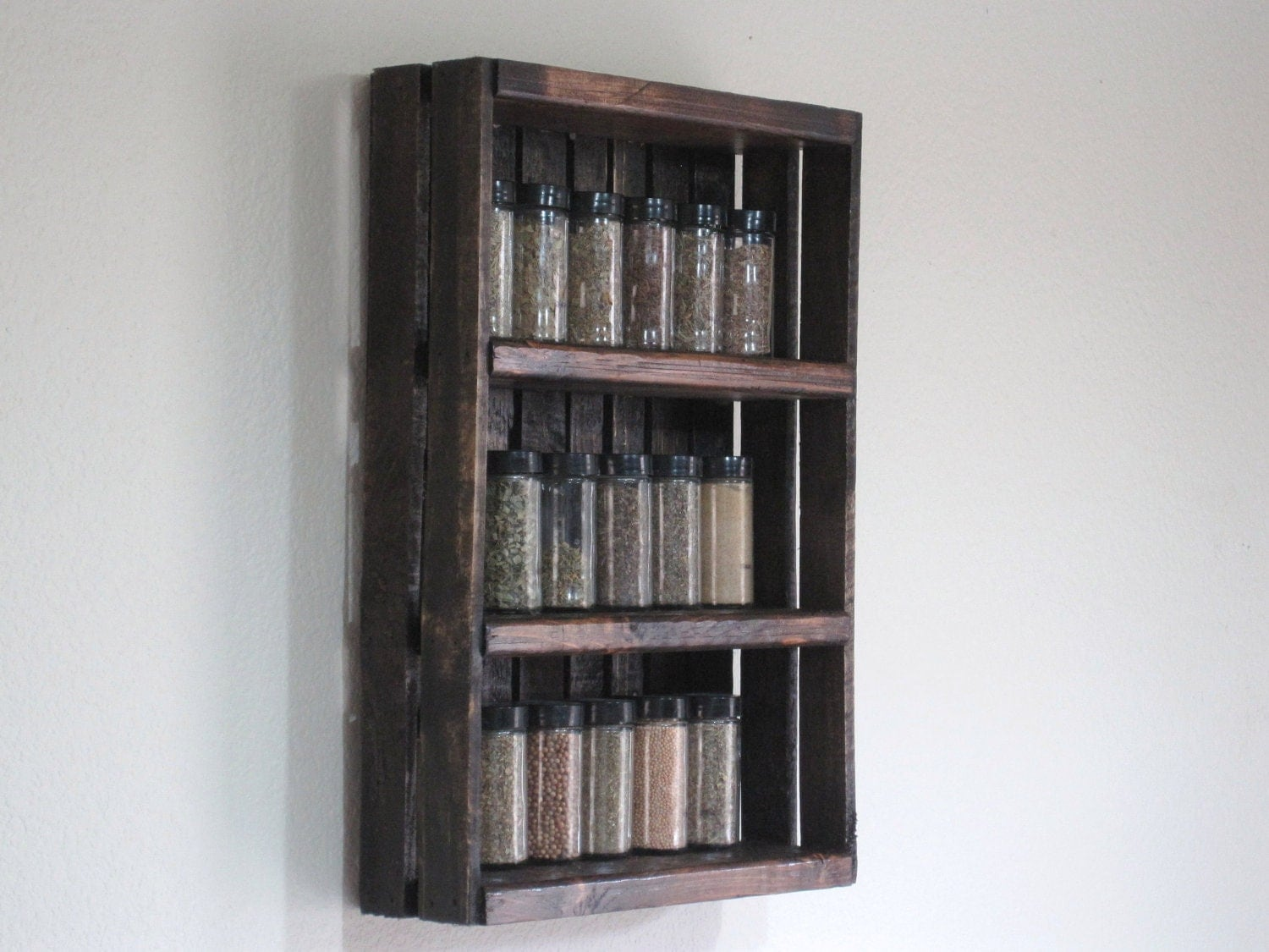 Custom Wall Shelving Spice Rack Jacobean By Woodencrategallery