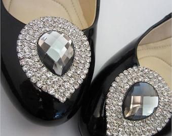Rhinestone Teardrop Shoe Clips, Diamond Shoe Clips, Wedding and Bridal Shoe Clips - Shoe Decorations