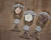 Wedding / Bridesmaids Decorated Hillbilly / Redneck Wine Glasses : Fabric Rosettes and Lace