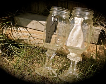 Bride and Groom Mason Jar Toasting Flutes / Hillbilly Wine Glasses - Set of Two