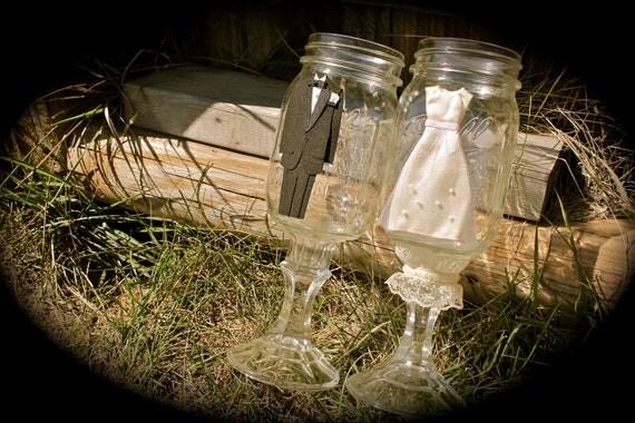 Bride and Groom Mason Jar Toasting Flutes / Hillbilly Wine Glasses - Set of Two