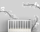 Baby Room Decals Kids Wall Decals White and Grey - Koala Tree Branches by LittleLion Studio