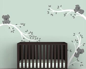Baby Wall Decal Nursery Wall Art White Tree Gray Bears - Koala Tree Branches by LittleLion Studio