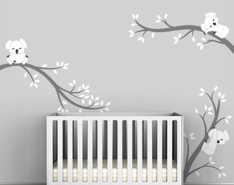 Baby Room Decals Kids Wall Decals White And Grey   Koala Tree Branches By  LittleLion Studio Part 94