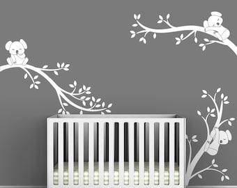 White Tree Wall Decal Gray Wall Modern Baby Nursery Wall Decor - Koala Tree Branches by LittleLion Studio