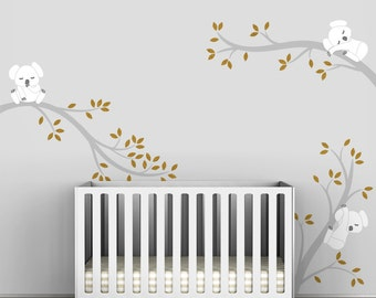 Kids Gold Wall Decal Baby Chic Classic Modern Room Decor - Koala Tree Branches by LittleLion Studio