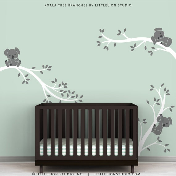 Baby Wall Decal Nursery Wall Art White Tree Gray Bears Koala