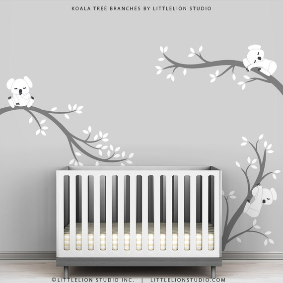 Baby Room Decals Kids Wall Decals White And Grey Koala Tree - Baby room decals