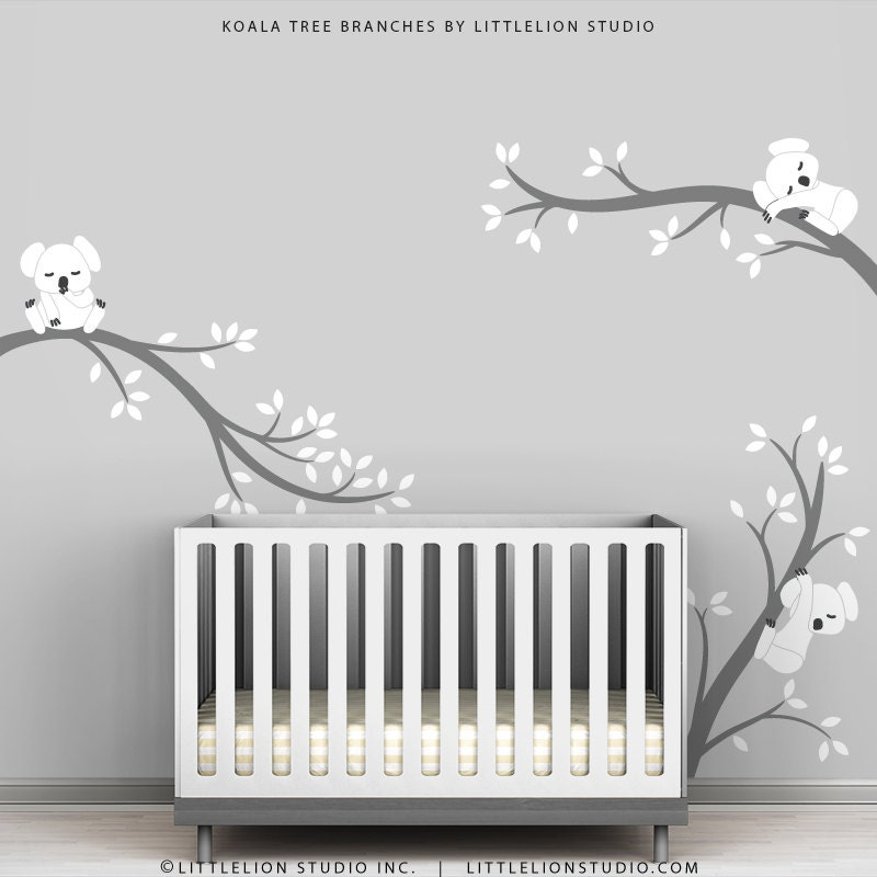 Baby room decals kids wall decals white and grey koala tree for Wall decals kids room