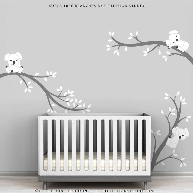Baby room decals kids wall decals white and grey koala tree for Baby room decoration wall stickers