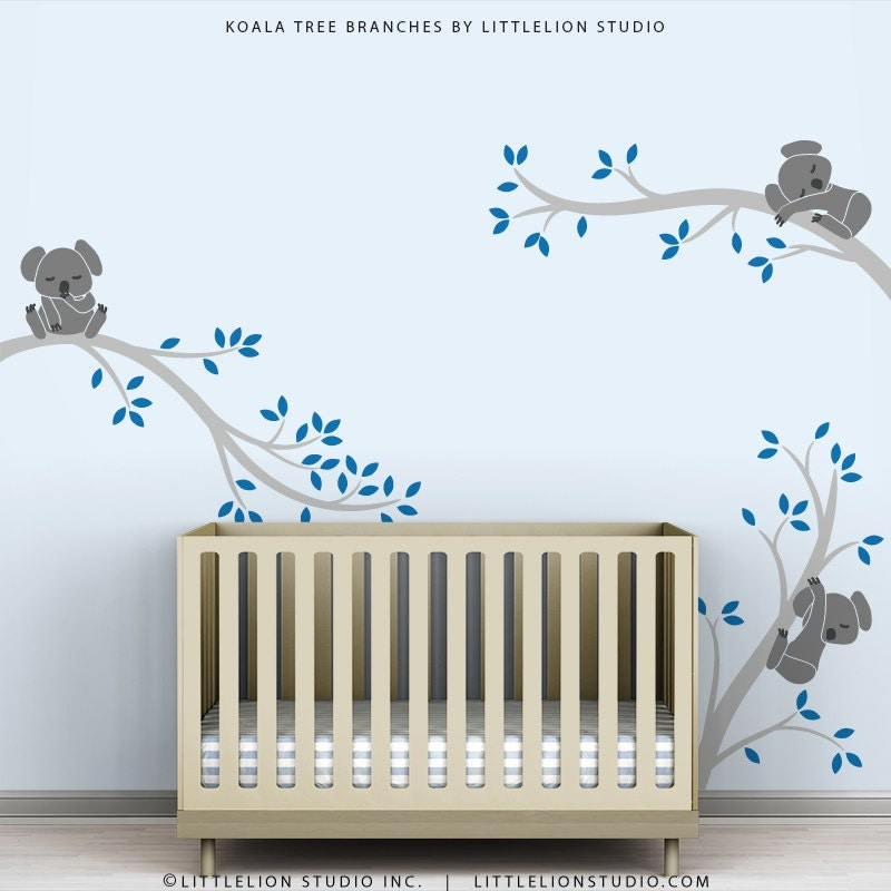 Kids Wall Decal Blue Wall Decor Baby Nursery Tree by TheKoalaStore