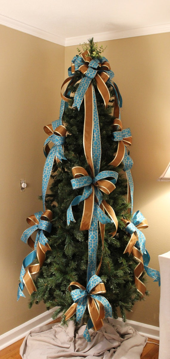 Blue Brown Designer Christmas Tree Bow Set