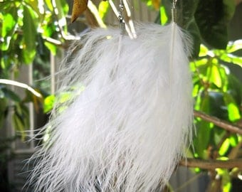 Guinea Feather Earrings - White 5.5 inches