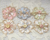 Handmade Paper Flower Embellishments - Set of 6