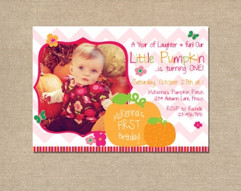 Little Pumpkin First Birthday- Printable Invitations