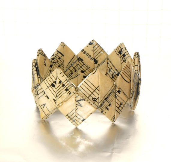 Origami bracelet made from vintage sheet music