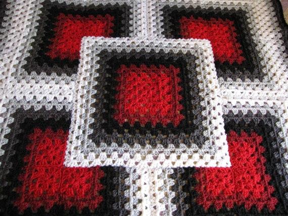Red Black White Bold Design Crochet Afghan Baby Afghan Lap