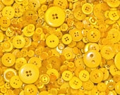 100g Yellow Buttons, Many Shapes, Sizes, Colours, Styles and Designs in Every Pack