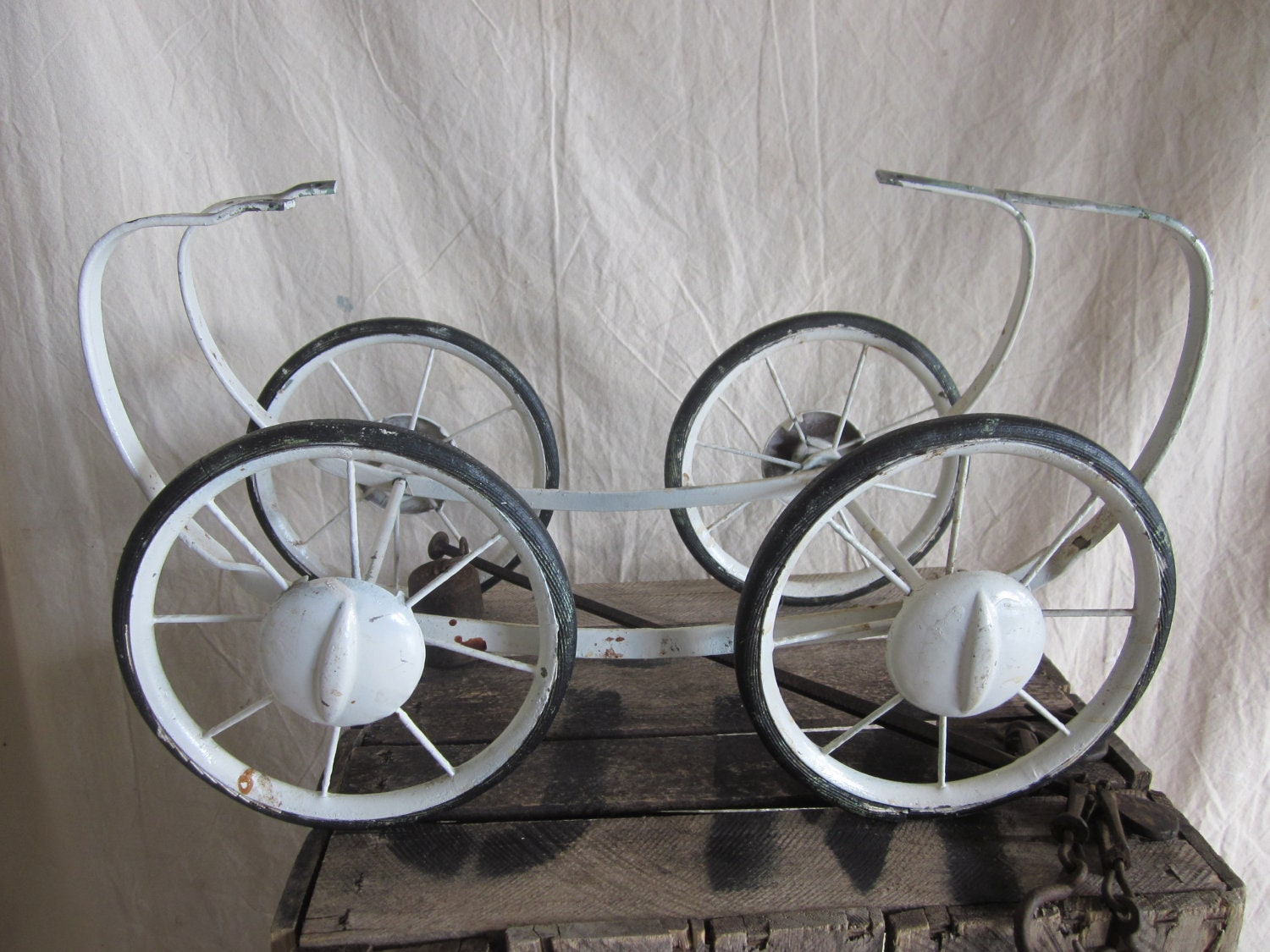 Vintage Metal Baby Doll Buggy Wheels Carriage Wheels