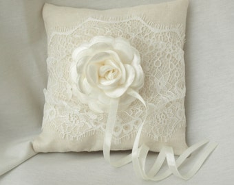 Wedding ring pillow Linen Wedding ring pillow. Ring Bearer Pillow. Ivory Lace Ring Pillow. Ivory Flower Accent READY TO SHIP