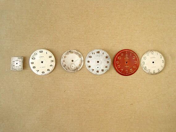 Set of six 6 Vintage Clock Faces